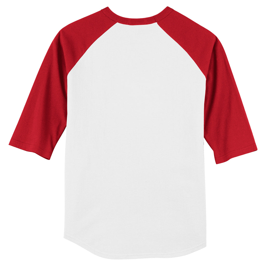 Sport-Tek Youth White/Red Colorblock Raglan Jersey
