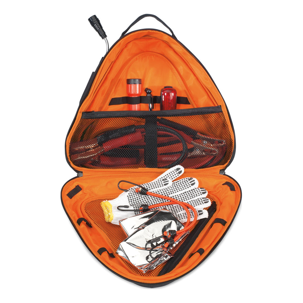 Brookstone Black/Orange Deluxe Roadside Safety Kit