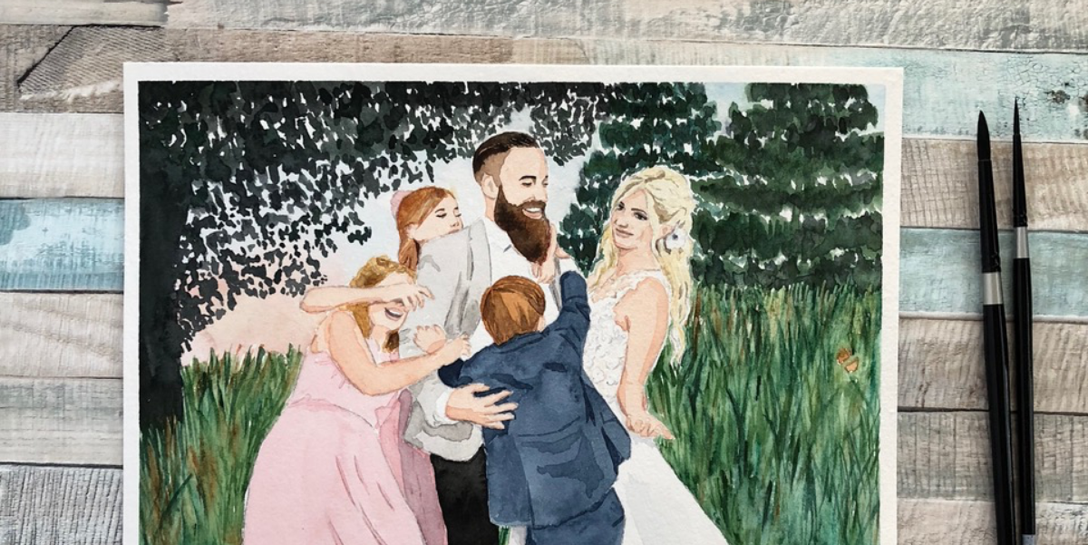 Watercolour painting of a young family in a field