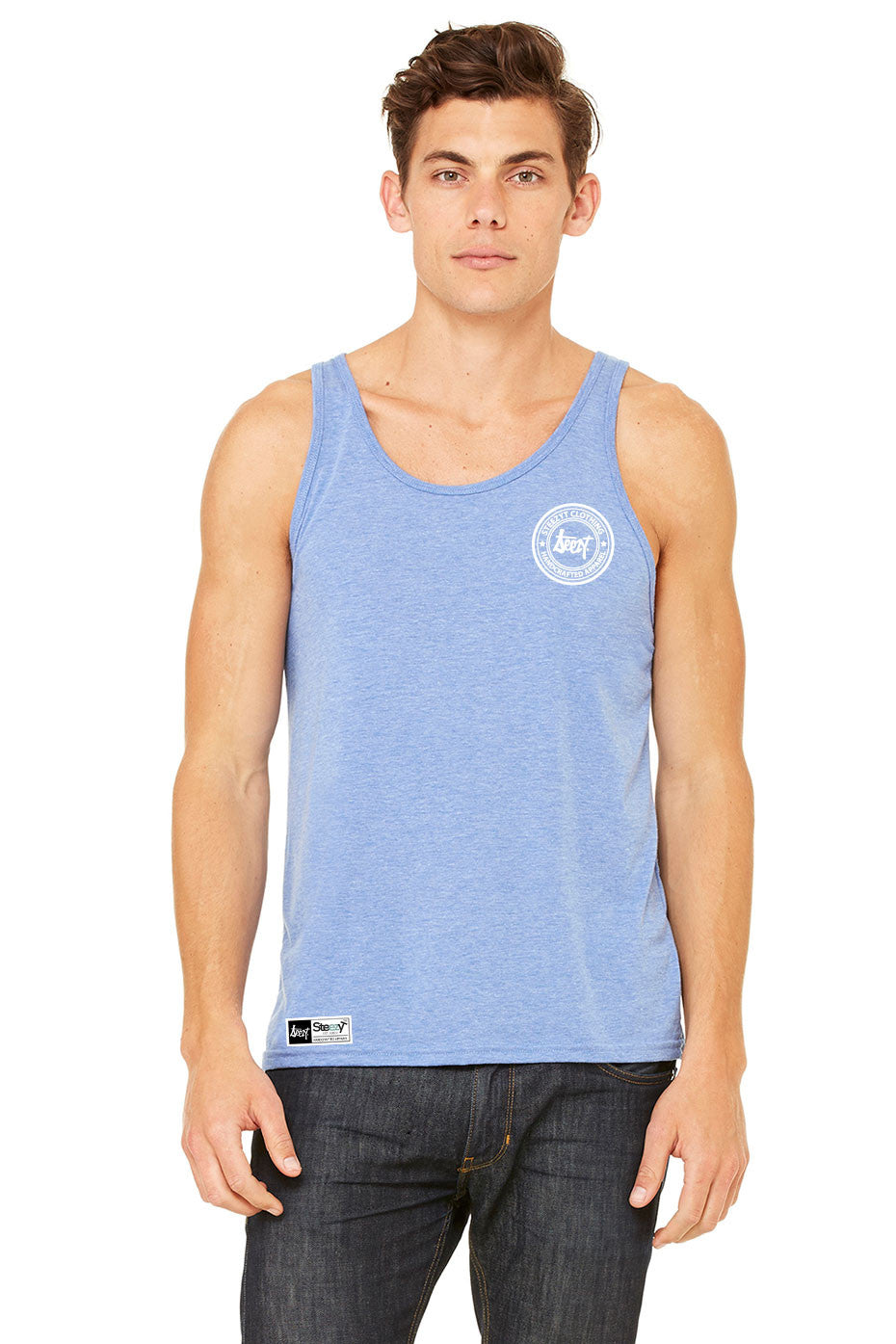 SteezyT Tri-Blend Blue Jersey Tank , Tanks - SteezyT, SteezyT™ Clothing Co  - 2