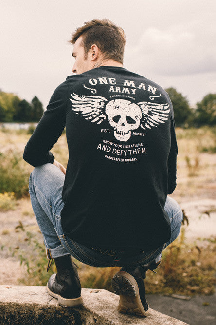 One Man Army - Black Unisex Long sleeve T-Shirt , T-Shirt - SteezyT, SteezyT™ Clothing Co  - 4
