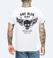 One Man Army - White Unisex T-shirt Small, T-Shirt - SteezyT, SteezyT™ Clothing Co  - 1