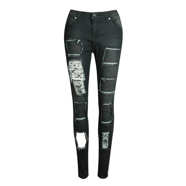 Casual Ripped Jeans Trousers Stretchy Slim