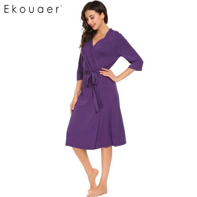 Long Womens Robe 3/4 Sleeve