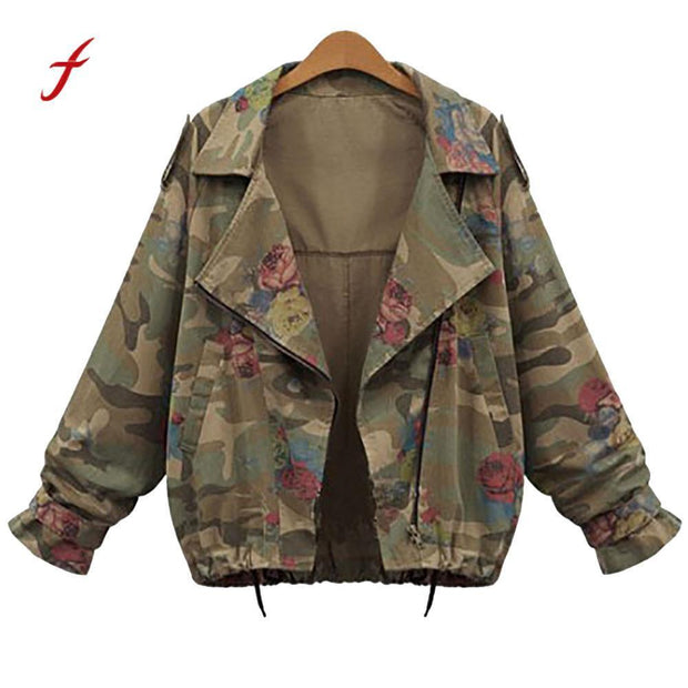 Casual Plus Size Loose Camouflage Coat