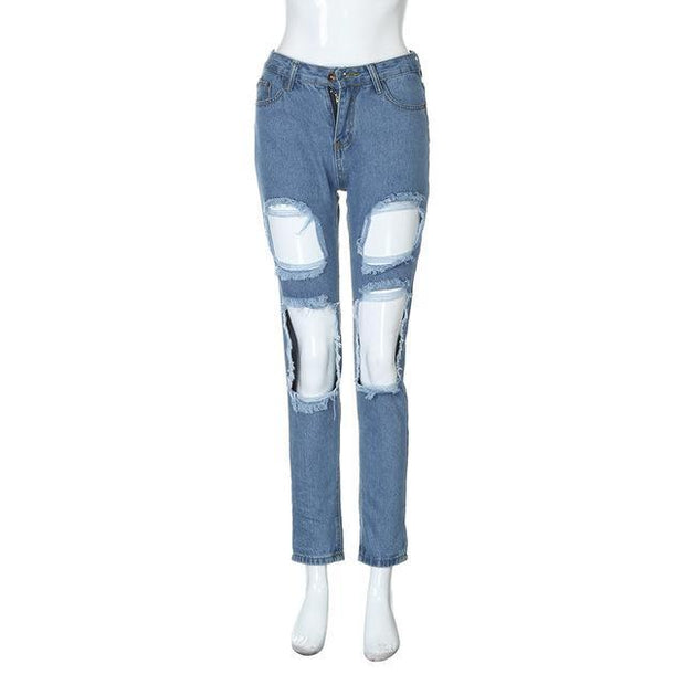 Long Denim Jeans Mid Waist Ripped Zip Pencil Pants