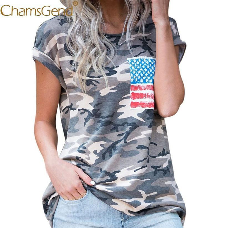 Women Casual Military CamouflageTee