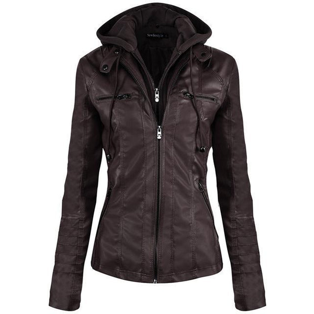 Hooded Faux Leather Jacket Zipper