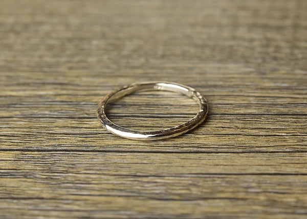 Hammered Stacker Silver Ring