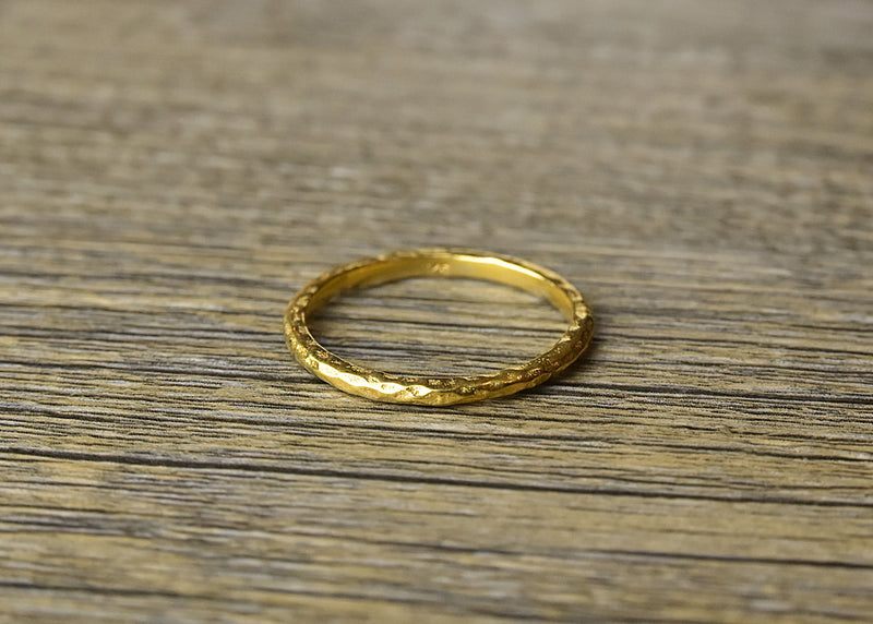 Hammered Stacker Gold Ring
