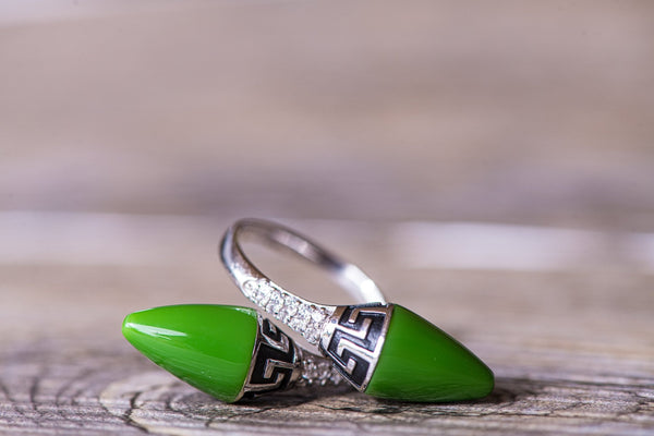 Adjustable Green Onyx CZ Ring - Kat's Collection