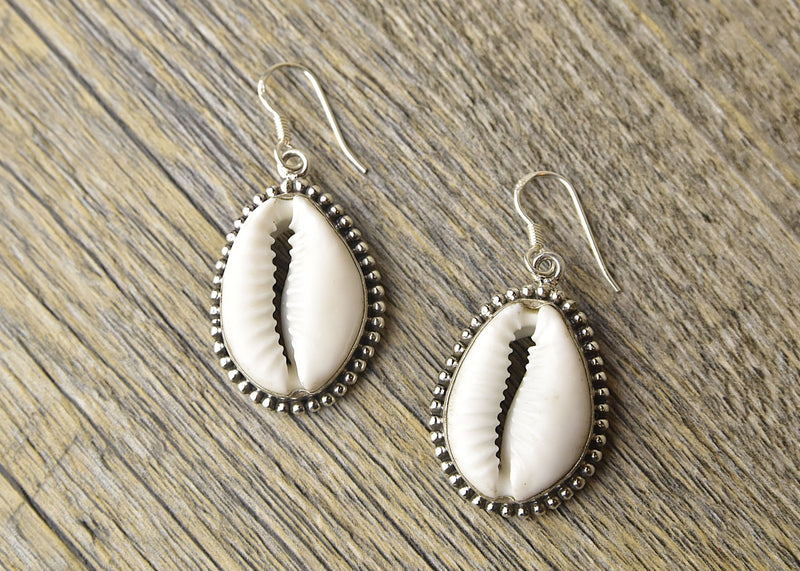 Cowrie Sterling Silver Earrings - Kat's Collection