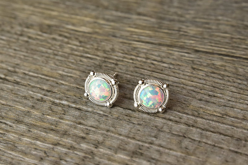 Dainty Opal Silver Earrings - Kat's Collection