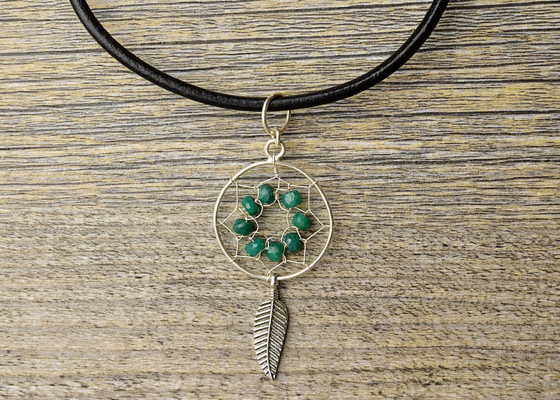 Emerald Dreamcatcher Earring & Pendant Set - Kat's Collection