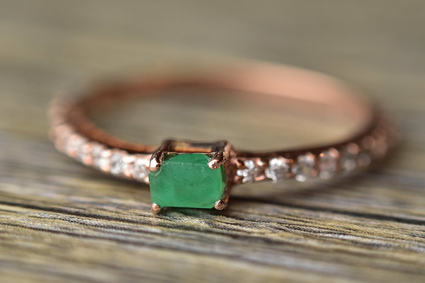 Emerald Rose Gold Ring - Kat's Collection