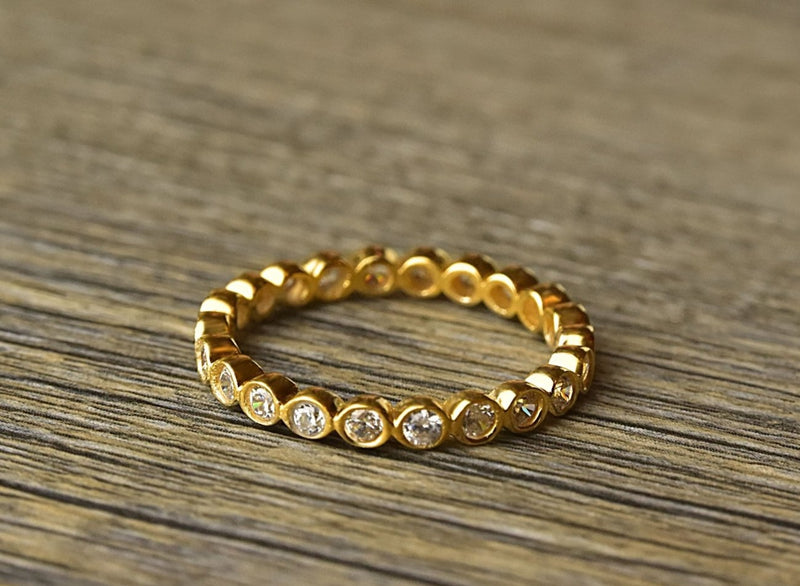 Gold Cubic Zirconia Stacker Ring - Kat's Collection