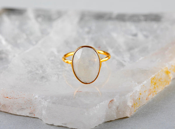 Gold Moonstone Ring - Kat's Collection