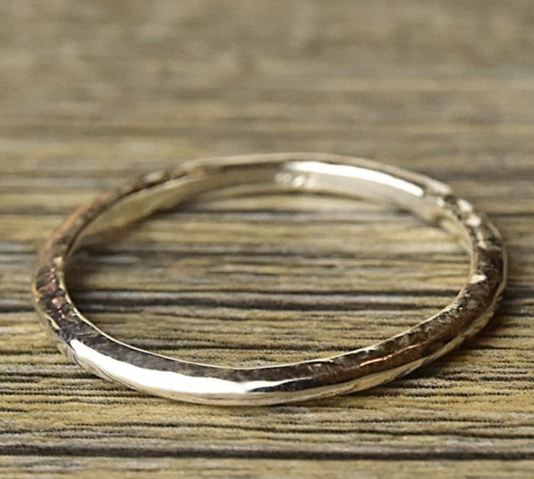 Hammered Stacker Silver Ring - Kat's Collection