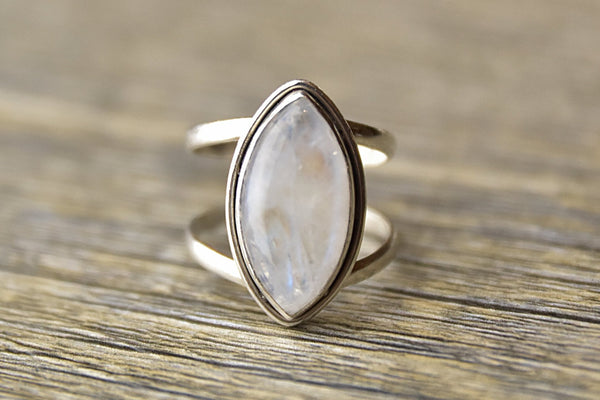 Marquise Moonstone Dual Band Ring - Kat's Collection