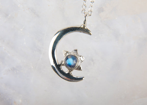 Moon & Star Moonstone Pendant Necklace - Kat's Collection
