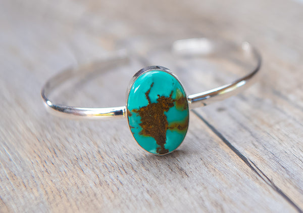 Oval Turquoise Silver Bracelet - Kat's Collection