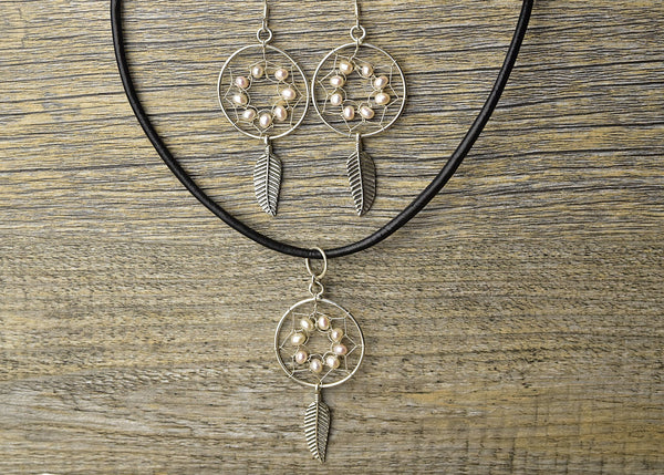 Pearl Dreamcatcher Earring & Pendant Set - Kat's Collection