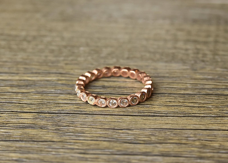 Rose Gold Cubic Zirconia Stacker Ring - Kat's Collection