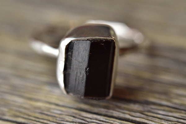 Rough Black Tourmaline Ring - Kat's Collection