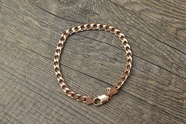 Solid 14k Rose Gold Plated Curb Bracelet - Kat's Collection