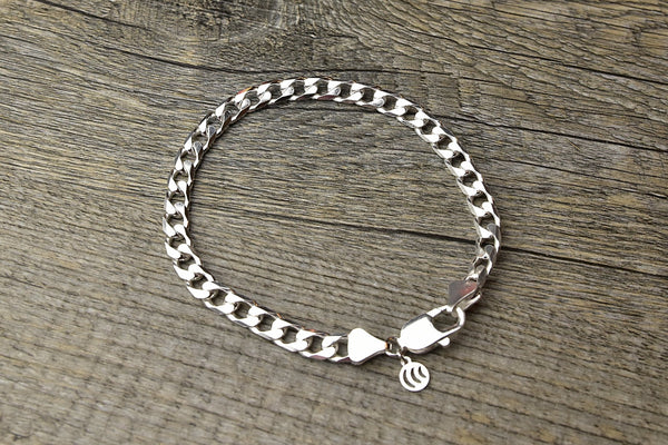 Solid Sterling Silver Curb Bracelet - Kat's Collection