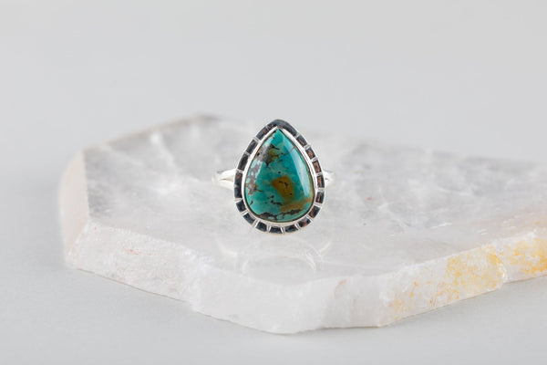 Teardrop Tibetan Turquoise Ring - Kat's Collection