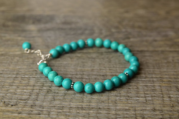 Turquoise Bead Silver Bracelet - Kat's Collection