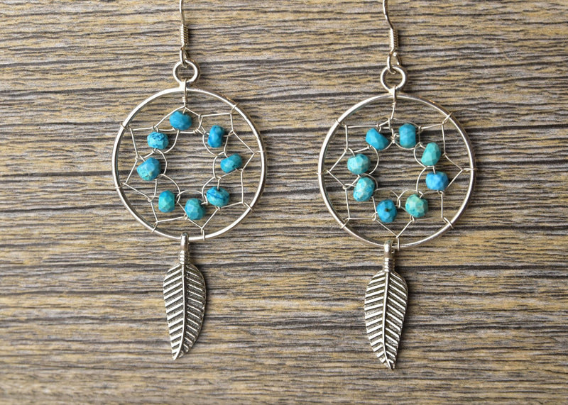 Turquoise Dreamcatcher Earring & Pendant Set - Kat's Collection