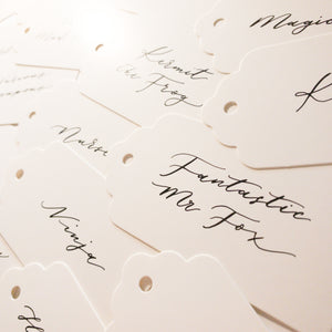 White & Black Handwritten Calligraphy  Place Card Tags - Sam's Little Studio, London UK