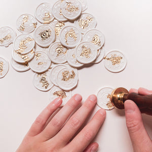 Celestial Solar System Self-Adhesive Wax Seals - White Wax with Gold Foil