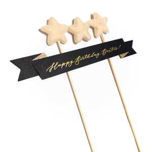 Personalised Black Calligraphy Cake Topper with Custom Bunting