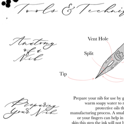 Tools & Techniques of Modern Calligraphy - Information Sheet