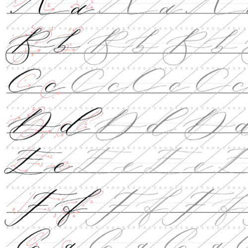 Modern Calligraphy Alphabet - Printable Worksheet