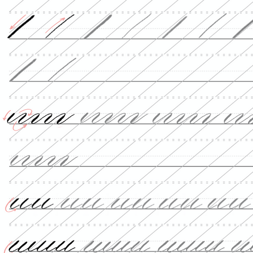 Modern Calligraphy Basic Strokes - Printable Worksheet