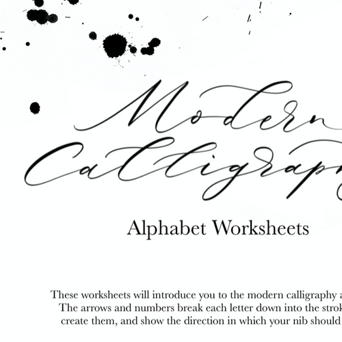 Printable Modern Calligraphy Alphabet Worksheet Set - One Page Per Letter