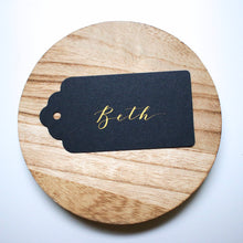 Load image into Gallery viewer, Black & Gold Handwritten Calligraphy Place Card Tags - Sam's Little Studio