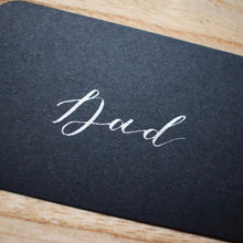 Load image into Gallery viewer, Black & Silver Handwritten Calligraphy Place Card Tag - Sam's Little Studio