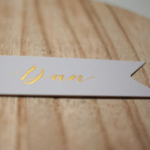 White & Gold Handwritten Calligraphy Dovetail Favour Tags - Sam's Little Studio