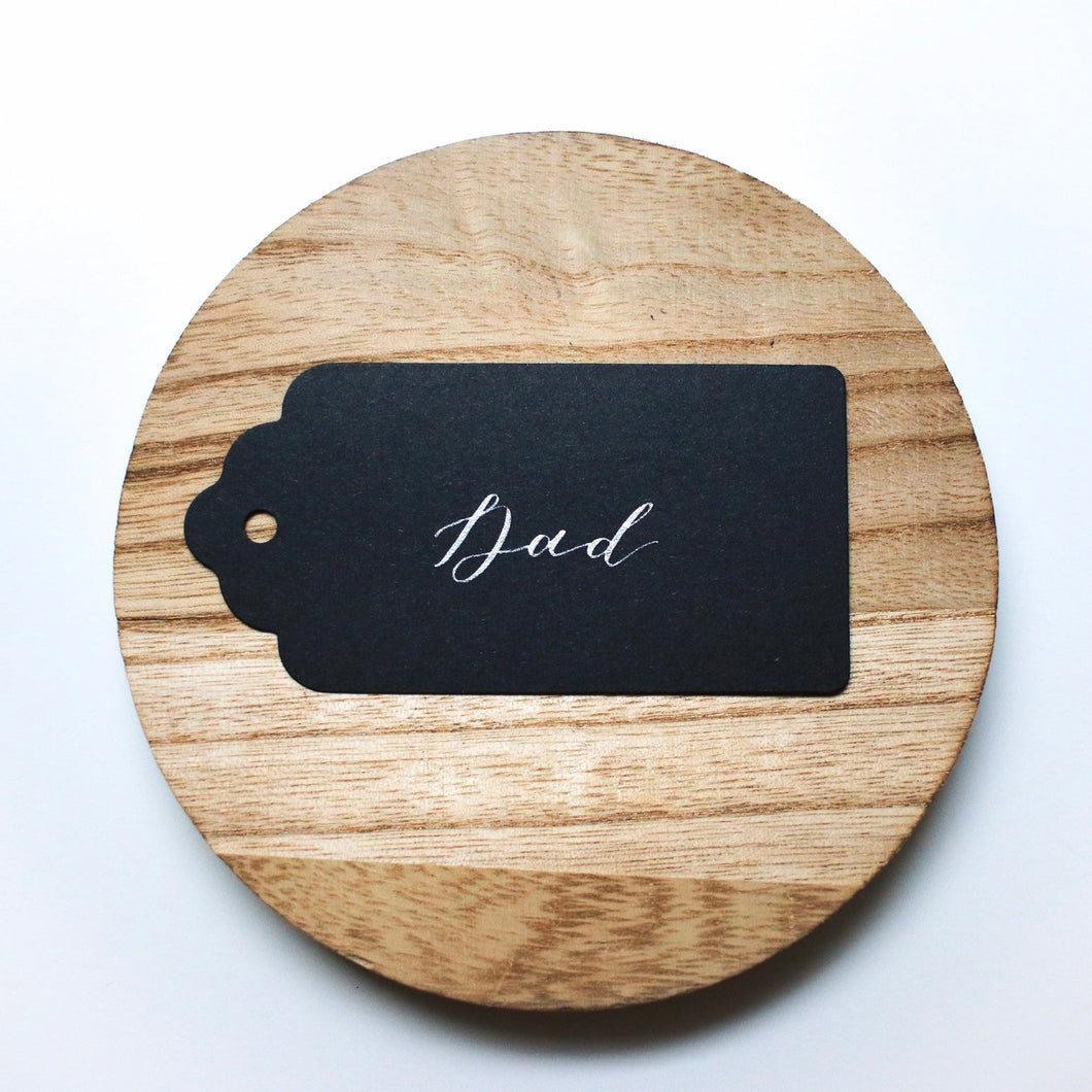 Black & Silver Handwritten Calligraphy Place Card Tag - Sam's Little Studio
