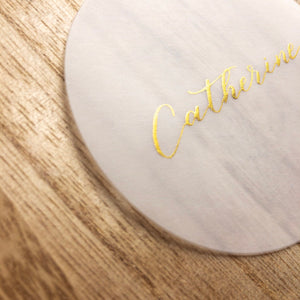 Handwritten Calligraphy Vellum Place Cards | Circle | Gold Ink - Sam's Little Studio