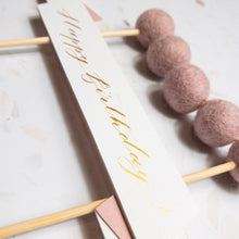 Load image into Gallery viewer, Pink Handmade Calligraphy Birthday Cake Topper, Felt Ball Bunting - Sam's Little Studio