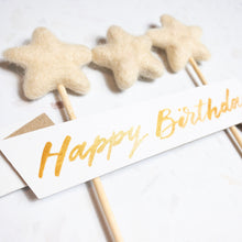 Load image into Gallery viewer, Starry Neutral Handwritten Calligraphy Birthday Cake Topper - Sam's Little Studio