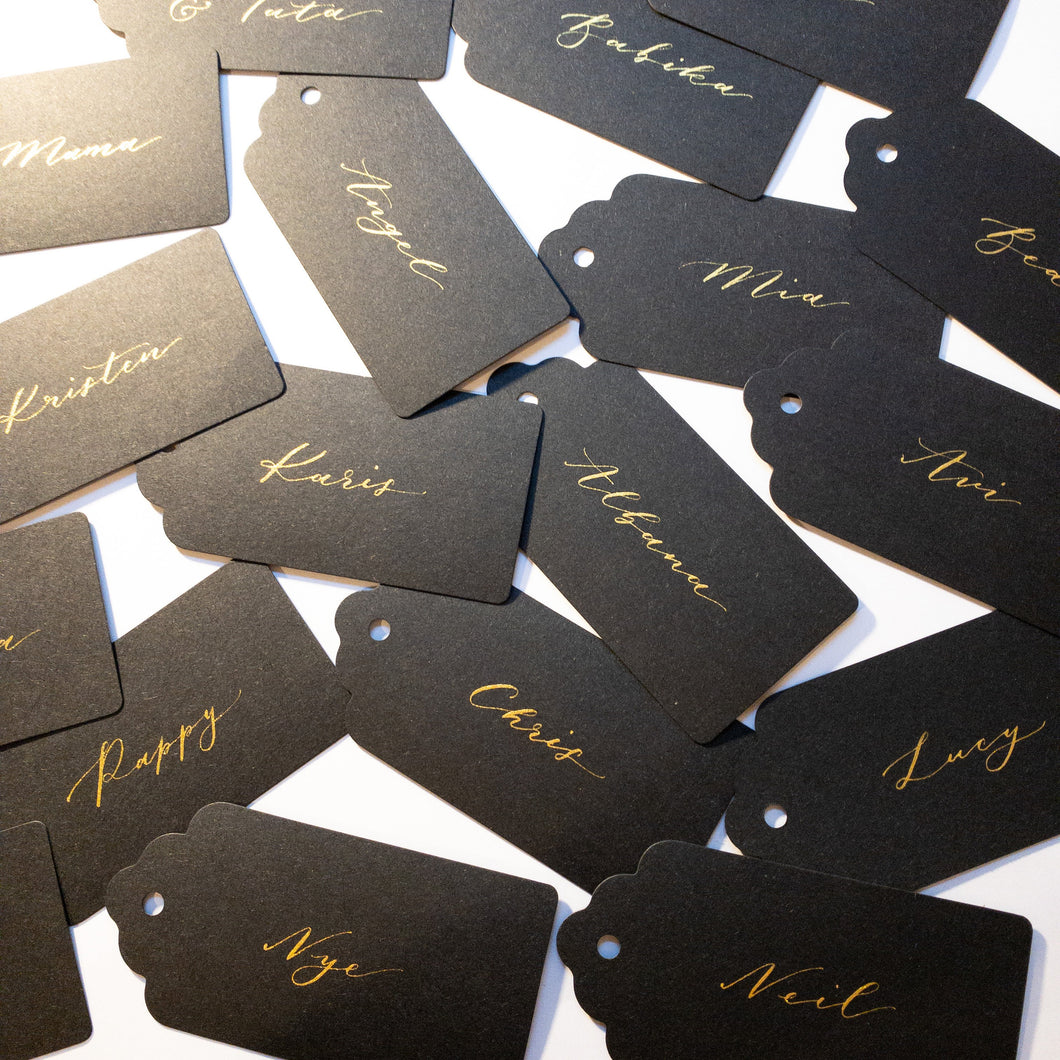 Black & Gold Handwritten Calligraphy Place Card Tags - Sam's Little Studio