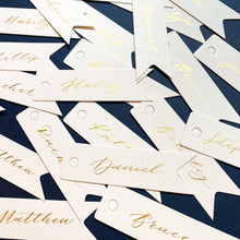 Load image into Gallery viewer, White & Gold Handwritten Calligraphy Dovetail Favour Tags - Sam's Little Studio