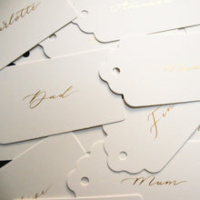 Load image into Gallery viewer, White and gold calligraphy place card tags from Sam's Little Studio, London